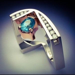 925 Sterling Silver Rose Gold Blue Sapphire Ring